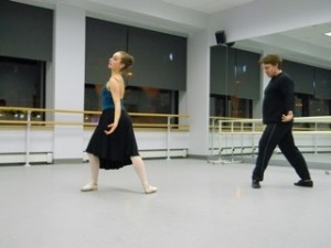 Amber Romano rehearses with Parren Ballard an original choreography created for her for the YAGP.