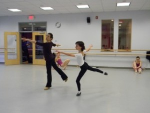 Tim Hartshorn rehearsing his YAGP solo with Trinidad Vives.